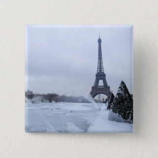 Eiffel tower in winter 15 cm square badge