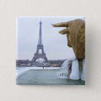Eiffel tower in winter 2 15 cm square badge