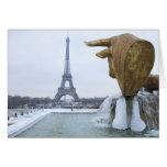 Eiffel tower in winter 2 cards