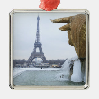 Eiffel tower in winter 2 christmas ornament