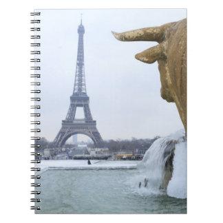 Eiffel tower in winter 2 notebook