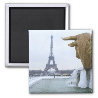 Eiffel tower in winter 2 square magnet