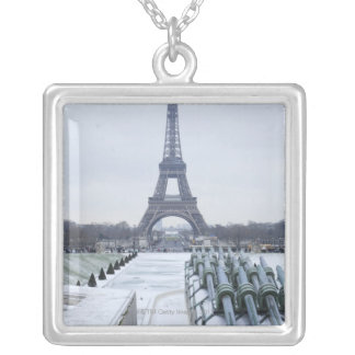 Eiffel tower in winter 3 silver plated necklace