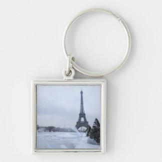 Eiffel tower in winter key ring