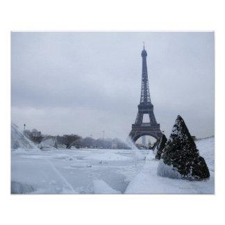 Eiffel tower in winter poster