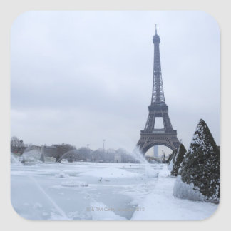Eiffel tower in winter square sticker
