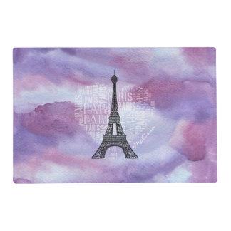 Eiffel Tower | Inscriptions Paris in Heart Placemat