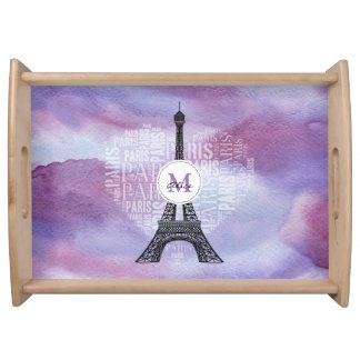 Eiffel Tower | Inscriptions Paris in Heart Serving Tray