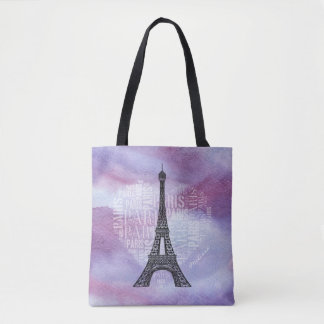 Eiffel Tower | Inscriptions Paris in Heart Tote Bag