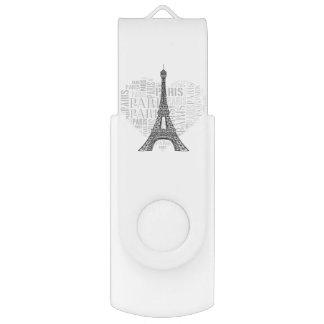 Eiffel Tower | Inscriptions Paris in Heart USB Flash Drive