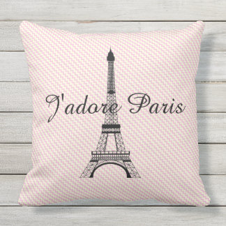 Eiffel tower J'adore Paris Outdoor Cushion