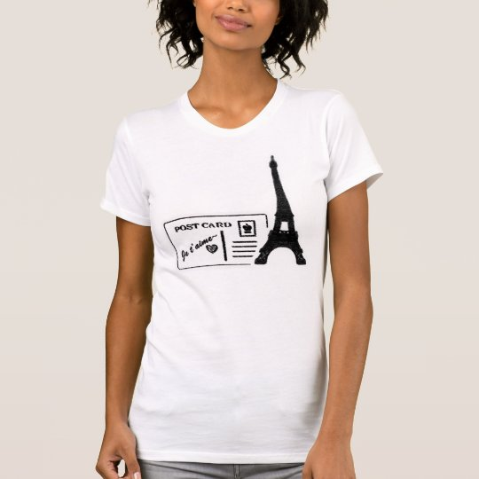 Eiffel Tower Je t'aime Postcard Women T-shirt