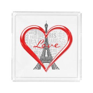 Eiffel Tower | Love Paris in Heart Acrylic Tray
