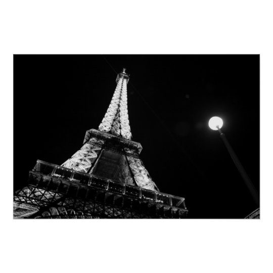 Eiffel Tower @ Night (black and white) Poster