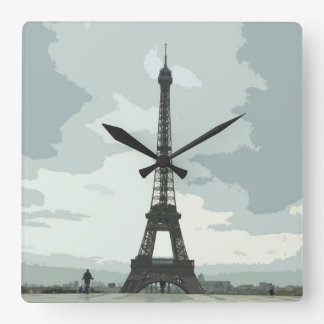 Eiffel Tower on a Cloudy Night Square Wall Clock
