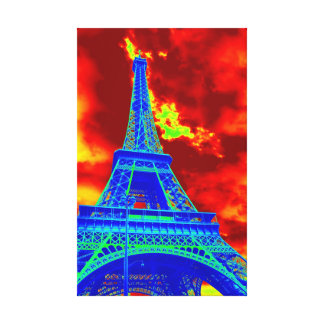 eiffel tower on fire canvas print
