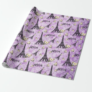 Eiffel Tower on Purple Damask Wrapping Paper