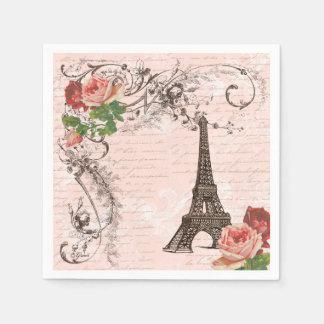 Eiffel Tower Paris and Roses Party Napkins Disposable Serviettes