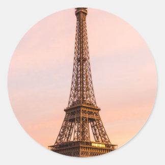 Eiffel Tower, Paris at Sunset Round Sticker