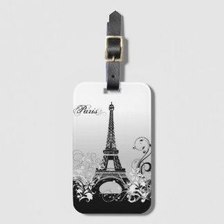 Eiffel Tower Paris B/W Luggage Tag
