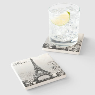 Eiffel Tower Paris (B/W) Stone Coaster