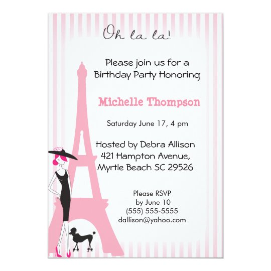 Eiffel Tower Paris Birthday Invitations