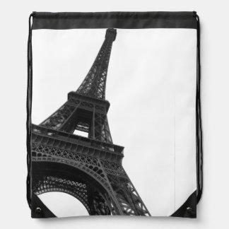 Eiffel Tower | Paris Black and White Photography Drawstring Bag