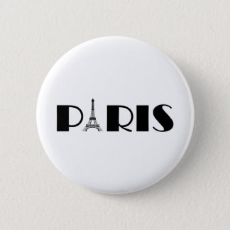 Eiffel Tower Paris Black & White 6 Cm Round Badge