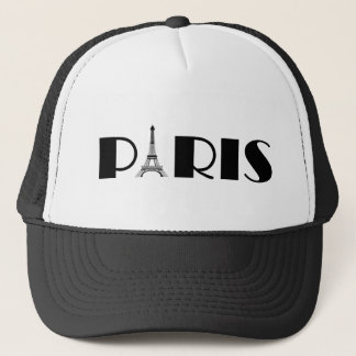 Eiffel Tower Paris Black & White Trucker Hat