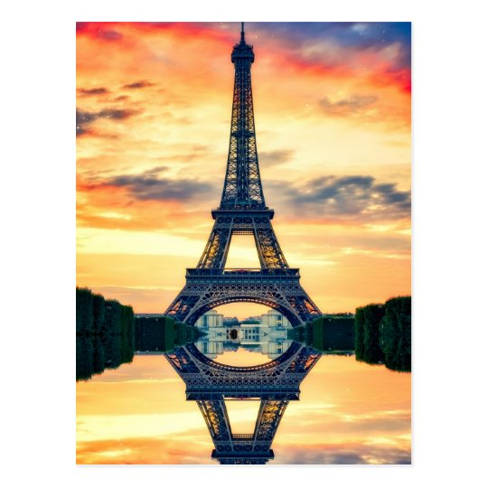Eiffel Tower Paris Evening European Travel Postcard