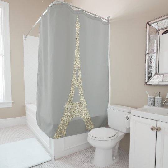 Eiffel Tower Paris Faux Glam Gold Gray Crystals
