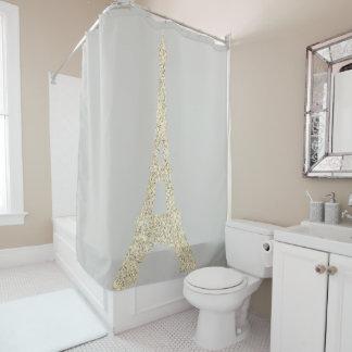 Eiffel Tower Paris Faux Glam Gold Gray Pastel Past Shower Curtain