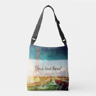 Eiffel Tower, Paris Fountain and Circus Crossbody Bag