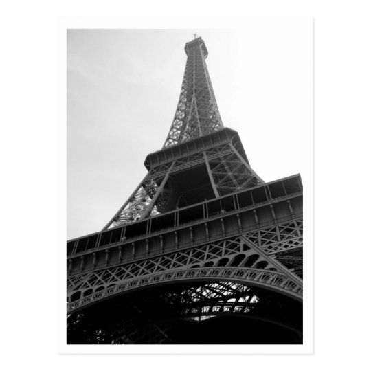 Eiffel Tower Paris France b/w Postcard