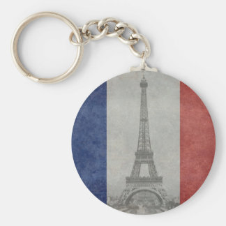 Eiffel tower, Paris France Basic Round Button Key Ring