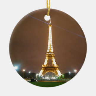 Eiffel Tower Paris France - Springtime Evening Round Ceramic Decoration