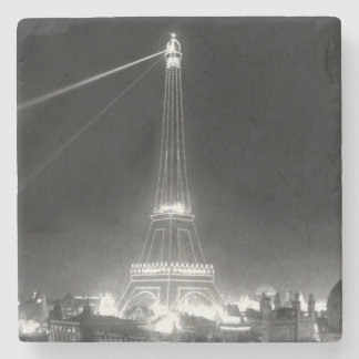 Eiffel Tower Paris France Vintage B&W Stone Coaster