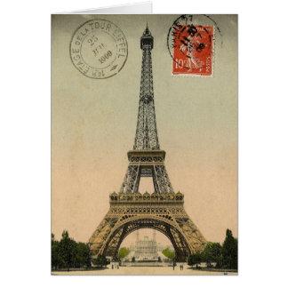 Eiffel Tower, Paris, France, Vintage Retro Card