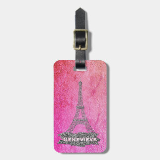 Eiffel Tower Paris | Girly Pink Silver For Her Luggage Tag