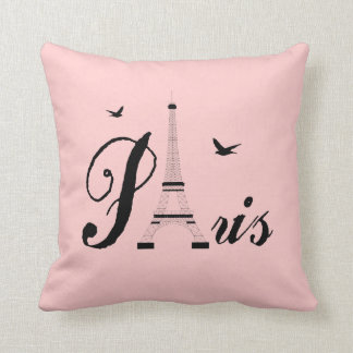 Eiffel Tower Paris Pink Black Picture Pillows