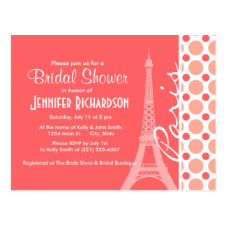 Eiffel Tower, Paris, Pink & Coral Polka Dots Postcard