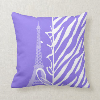Eiffel Tower, Paris, Purple Zebra Stripes Cushion