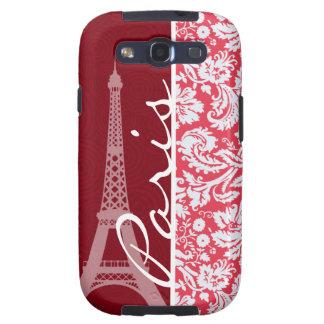 Eiffel Tower, Paris, Red Damask Samsung Galaxy SIII Cover