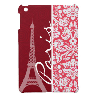 Eiffel Tower, Paris, Red Damask iPad Mini Case