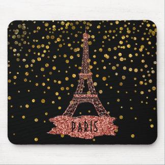 Eiffel Tower Paris | Rose Gold Glam Confetti Dots Mouse Mat