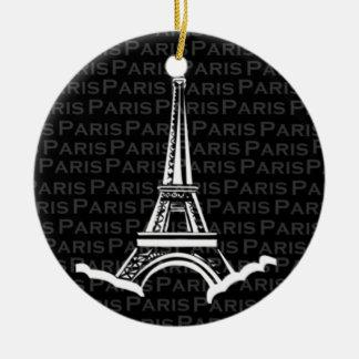 Eiffel Tower Paris Round Christmas Ornament