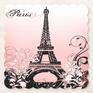 Eiffel Tower Paris Scalloped Paper Coaster