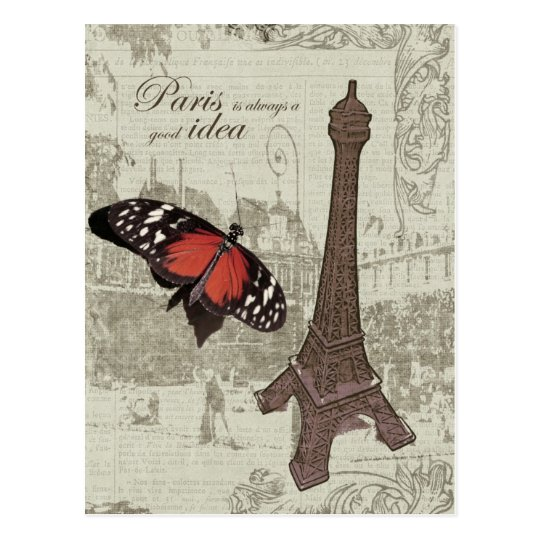 Eiffel tower, paris street and butterfly postcard