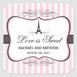 Eiffel Tower Paris Wedding Square Sticker