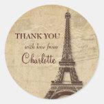 Eiffel Tower Parisian Bridal Shower Thank You Round Sticker